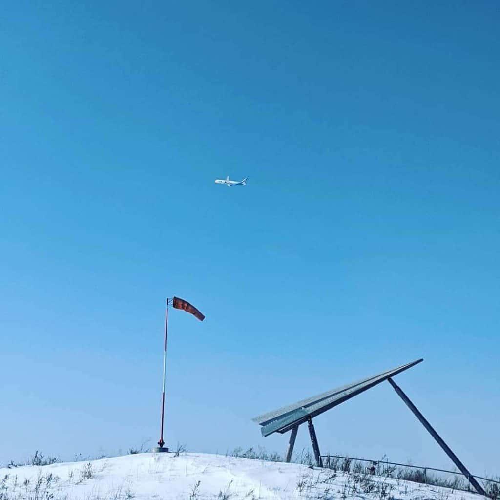 Plane leaving YYZ over Danville Park