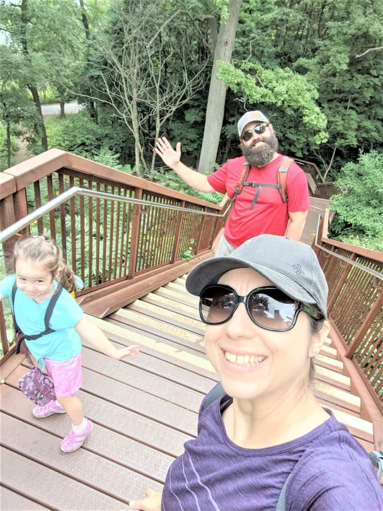 family at top of stairs in high park
