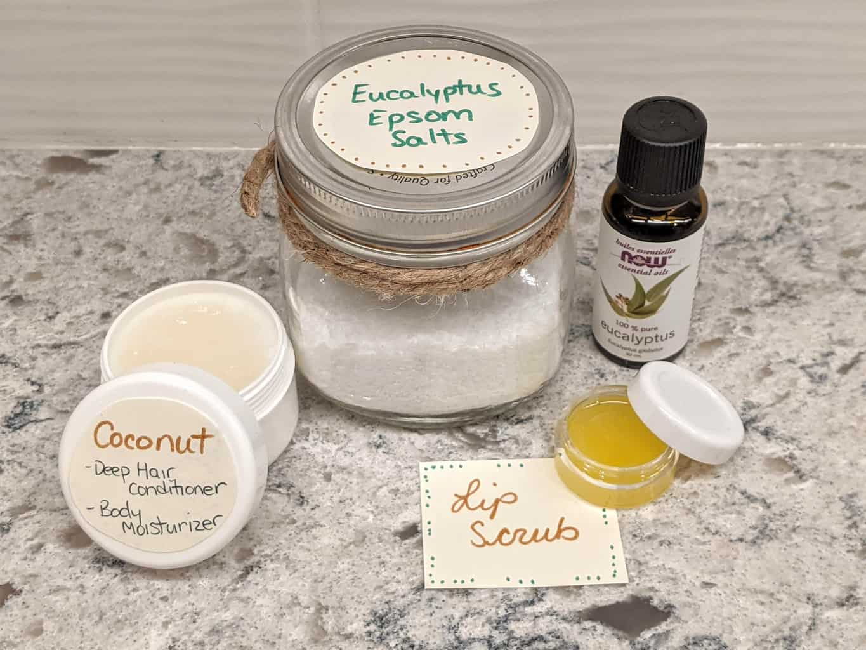 spa like body scrub, lip scrub, coconut oil and eucalyptus essential oil