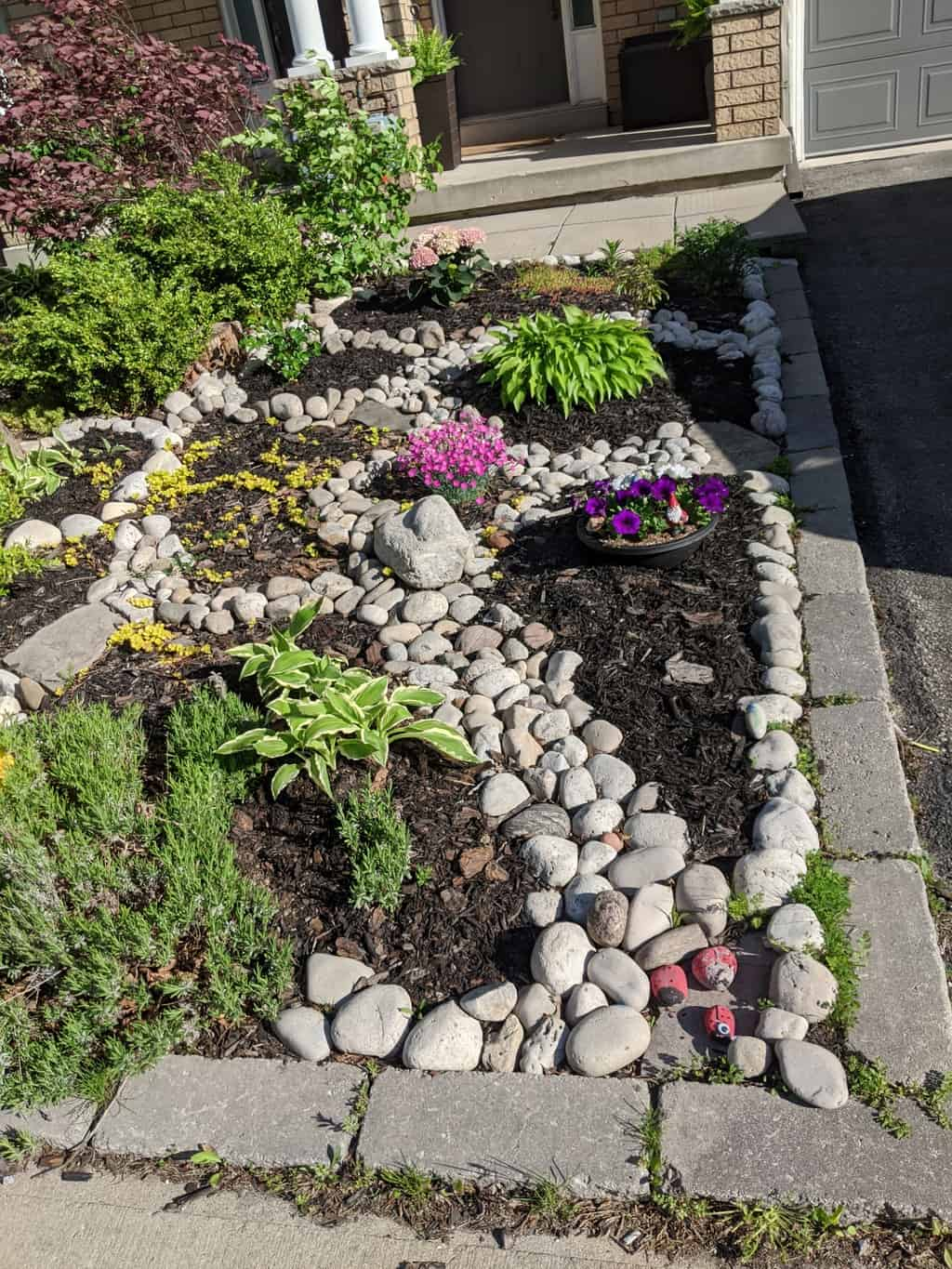 rock garden with pink and green flowers and black mulch