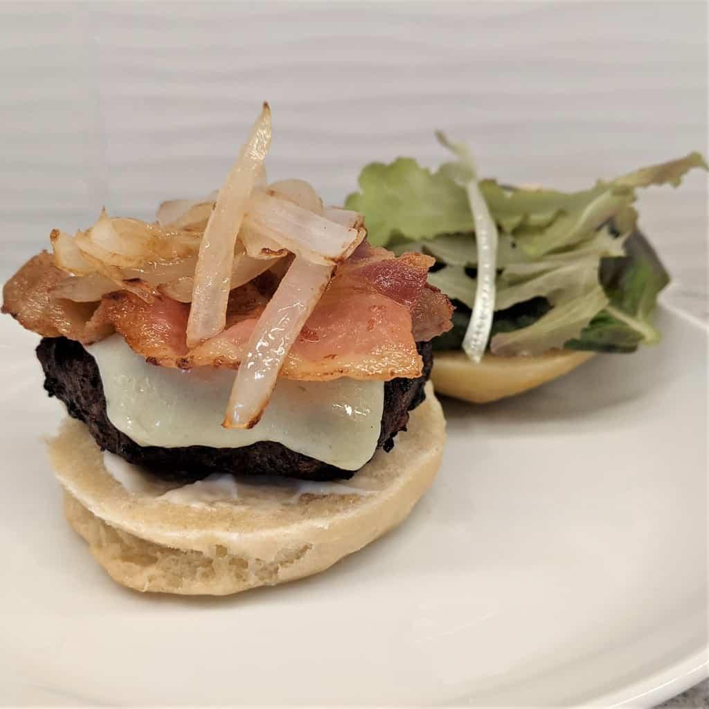 open faced burger beside a patty