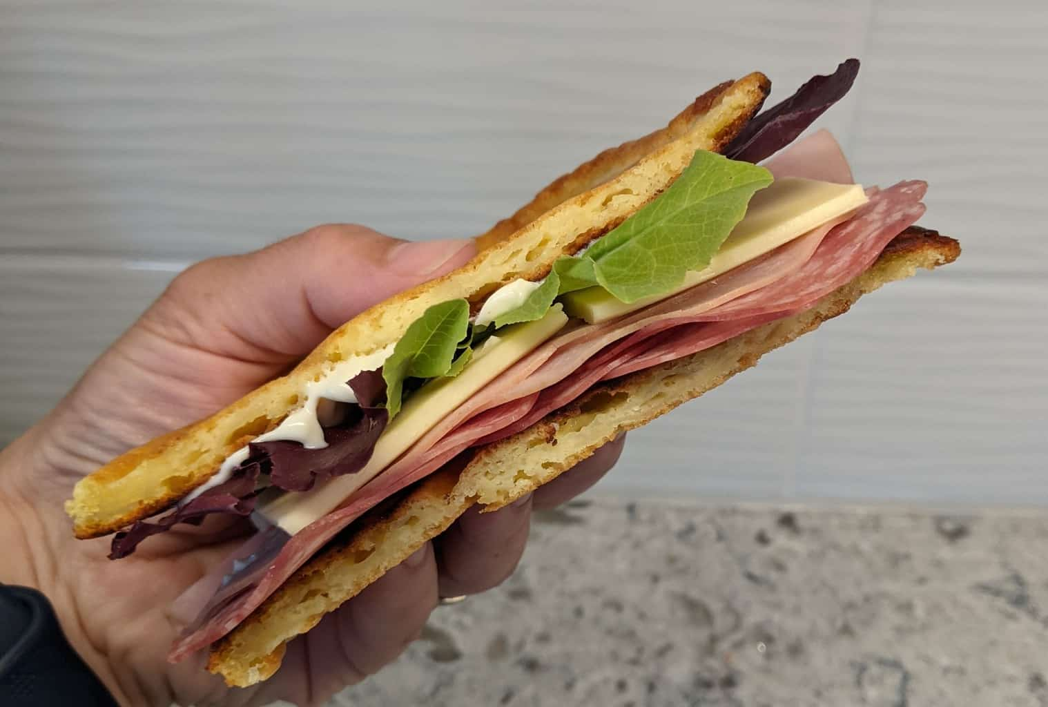 hand holding a flatbread sandwich