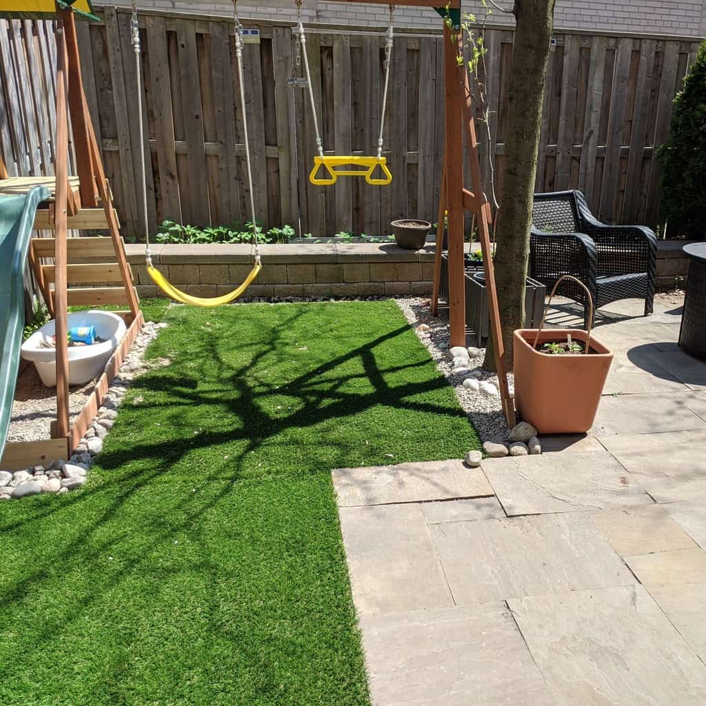 artificial grass and a playset