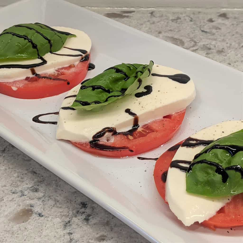 Caprese salad on a platter