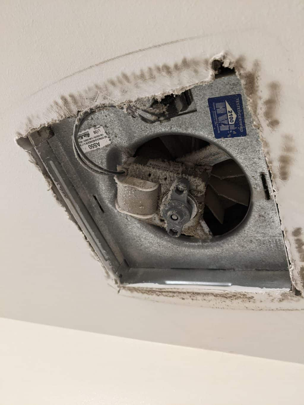 inside view of a dirty vent fan