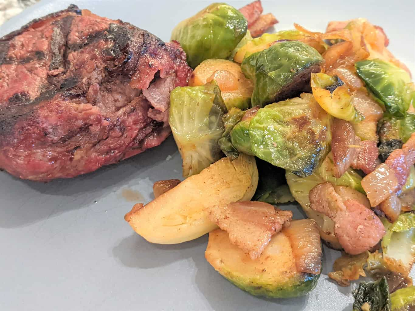 steak with a side of brussel sprouts