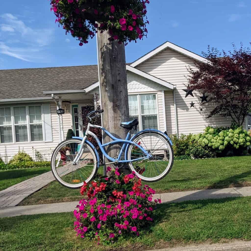 blue bike on a pole